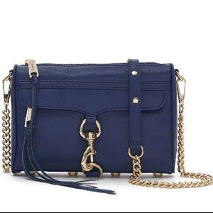 navy & gold rebecca minkoff avery crossbody purse